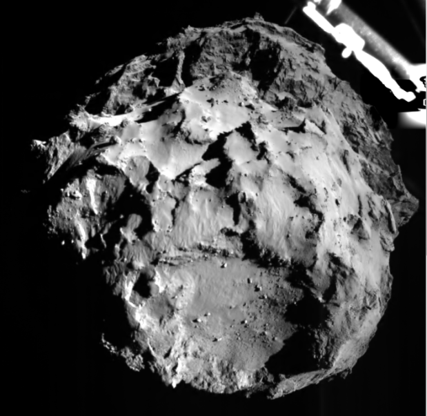 The image shows comet 67P/CG acquired by the ROLIS instrument on the Philae lander during descent on Nov 12, 2014 14:38:41 UT from a distance of approximately 3 km from the surface. The landing site is imaged with a resolution of about 3m per pixel.(Credii: ESA)