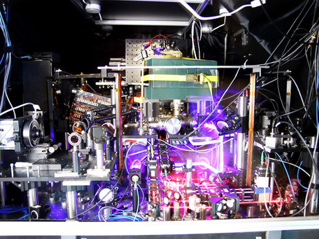 The world's most precise atomic clock is a mess to look at. But it can tick for billions of years without losing a second. (Credit: Ye group and Baxley/JILA/Flickr)