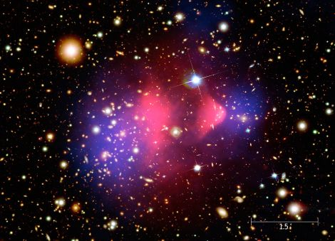 The Bullet Cluster: HST image with overlays. The total projected mass distribution reconstructed from strong and weak gravitational lensing is shown in blue, while the X-ray emitting hot gas observed with Chandra is shown in red. (Credit: Wikipedia)