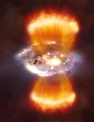 An artist's rendition of one of the newly discovered SPIRE 'hot starburst' galaxies (credit: NASA/CXC/M.Weiss)