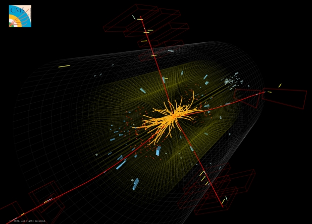 Real CMS proton-proton collision events in which 4 high energy muons (red lines) are observed. The event shows characteristics expected from the decay of a Higgs boson but is also consistent with background Standard Model physics processes. (Credit: CERN, for the benefit of the CMS Collaboration)