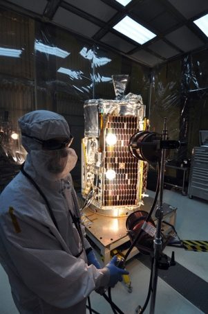 NuSTAR spacecraft will allow astronomers to study the universe in high energy X-rays. Here it undergoes a solar array illumination test. Image tweeted Feb. 3, 2012. (Credit: NASA/NuStar)