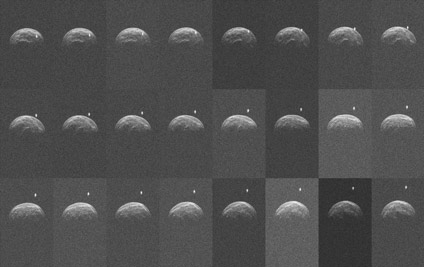 Collage of radar images of asteroid 2004 BL86 made by the Green Bank Telescope from radar transmitted from NASA's Goldstone Deep Space Network antenna. (Credit: NASA/JPL-Caltech; NRAO/AUI/NSF)