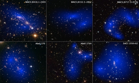This collage shows images of six different galaxy clusters taken with NASA's Hubble Space Telescope. The clusters were observed in a study of how dark matter in clusters of galaxies behaves when the clusters collide. Seventy-two large cluster collisions were studied in total. Using visible-light images from Hubble, the team was able to map the post-collision distribution of stars and also of the dark matter (colored in blue), which was traced through its gravitational lensing effects on background light. The team determined that dark matter interacts with itself less than previously thought. The clusters shown here are, from left to right and top to bottom: MACS J0416.1-2403, MACS J0152.5-2852, MACS J0717.5+3745, Abell 370, Abell 2744, and ZwCl 1358+62. Image Type: Astronomical/Annotated Credit: NASA, ESA, D. Harvey (École Polytechnique Fédérale de Lausanne, Switzerland; University of Edinburgh, UK), R. Massey (Durham University, UK), T. Kitching (University College London, UK), and A. Taylor and E. Tittley (University of Edinburgh, UK)