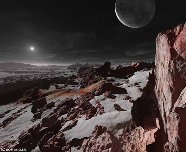 Concept of Pluto's surface. ©Ron Miller, used with permission.